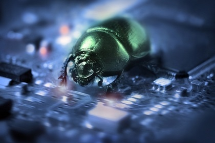 Bug on a computer chip